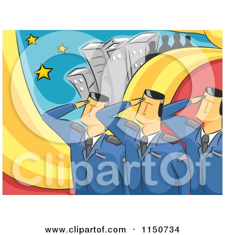 Cartoon of Saluting Military Officers - Royalty Free Vector Clipart by BNP Design Studio