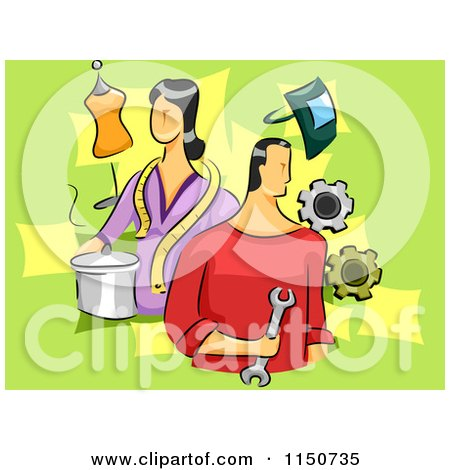 Cartoon of a Man and Woman with Different Skills - Royalty Free Vector Clipart by BNP Design Studio