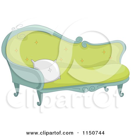 Clipart Blog Header Of A Woman Sewing On A Striped Couch