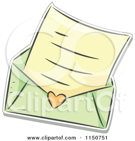Cartoon of a Love Letter and Green Envelope - Royalty Free Vector Clipart by BNP Design Studio