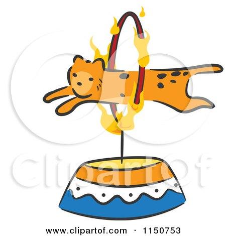 Cartoon of a Cheetah Leaping Through a Hoop Circus Act - Royalty Free Vector Clipart by BNP Design Studio