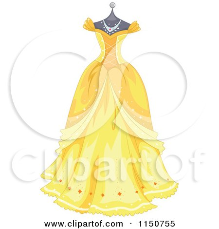 Cartoon of a Yellow Princess Gown on a Manequin - Royalty Free Vector Clipart by BNP Design Studio
