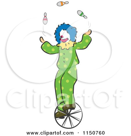 Cartoon Of A Clown Juggling On A Unicycle Circus Act Royalty Free Vector Clipart
