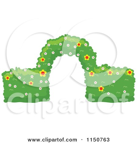 Cartoon of a Trimmed Garden Hedge with an Arch - Royalty Free Vector Clipart by BNP Design Studio