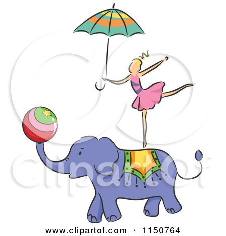Cartoon of a Girl Balancing on an Elephant Circus Act - Royalty Free Vector Clipart by BNP Design Studio