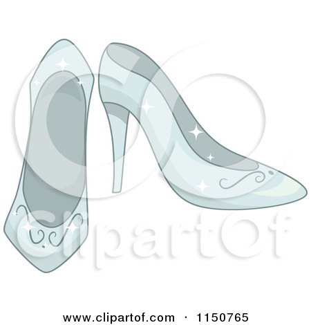 Cartoon of a Pair of Glass Princess Slippers - Royalty Free Vector Clipart by BNP Design Studio