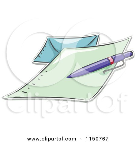 Cartoon of a Pen on a Letter and Envelope - Royalty Free Vector Clipart by BNP Design Studio