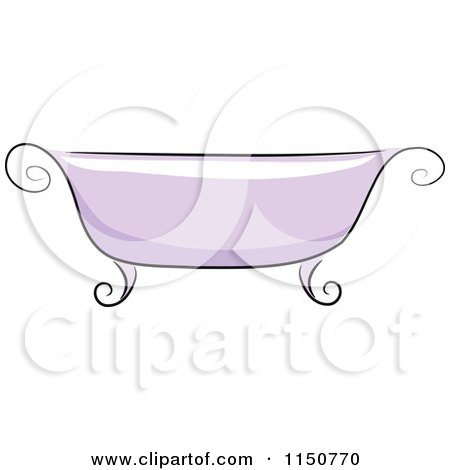 Cartoon of a Chic Purple Bath Tub - Royalty Free Vector Clipart by BNP Design Studio