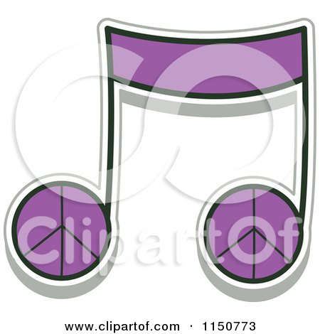 Cartoon of a Purple Peace Music Note - Royalty Free Vector Clipart by BNP Design Studio
