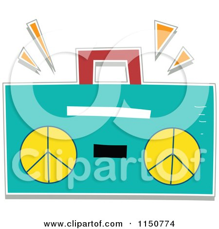 Cartoon of a Turquoise Boom Box - Royalty Free Vector Clipart by BNP Design Studio