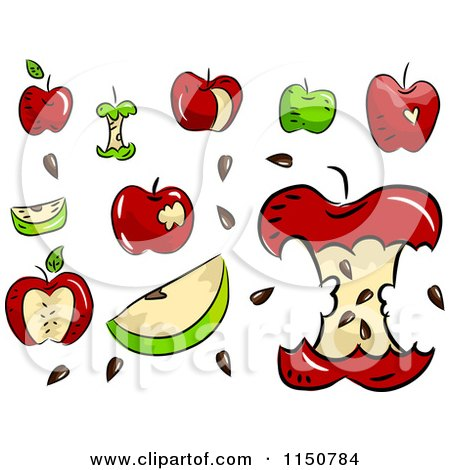 Cartoon of Red and Green Apples - Royalty Free Vector Clipart by BNP Design Studio