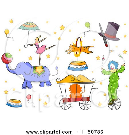 Cartoon of Circus Design Elements - Royalty Free Vector Clipart by BNP Design Studio