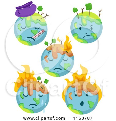 Clipart of a Globe with Extreme Weather Conditions and Global ...