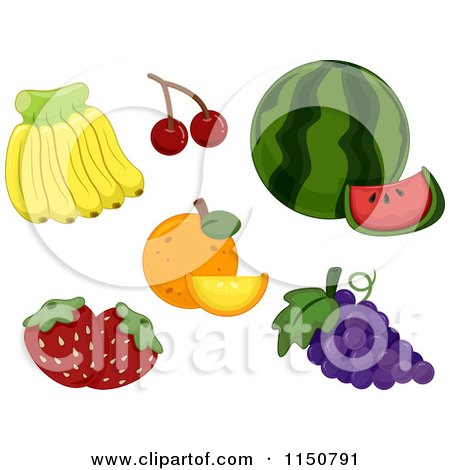 Cartoon of Bananas Cherries Watermelon Oranges Grapes and Strawberries - Royalty Free Vector Clipart by BNP Design Studio
