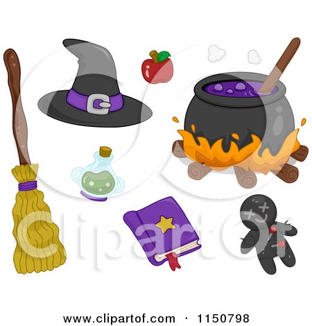 Cartoon of Witch Items - Royalty Free Vector Clipart by BNP Design Studio