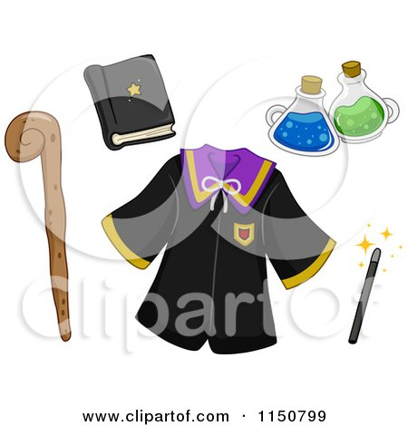 Cartoon of Wizard Items - Royalty Free Vector Clipart by BNP Design Studio