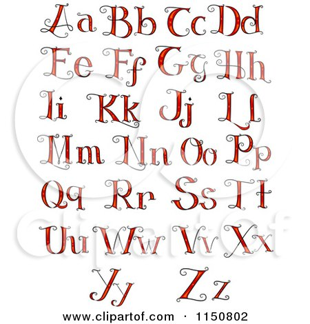 Cartoon of Formal Red Alphabet Letters - Royalty Free Vector Clipart by BNP Design Studio