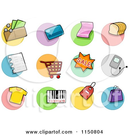 Cartoon of Shopping Icons - Royalty Free Vector Clipart by BNP Design Studio