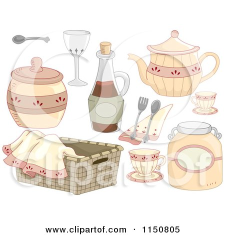 Cartoon of Country Kitchen Design Elements - Royalty Free Vector Clipart by BNP Design Studio