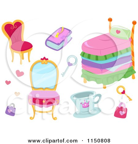 Cartoon of Princess Furniture and Accessories - Royalty Free Vector Clipart by BNP Design Studio