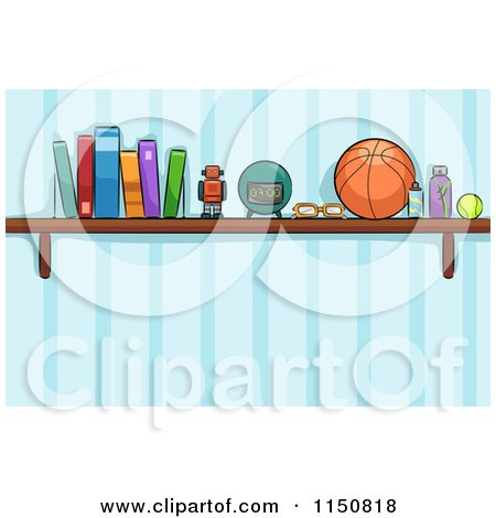 Cartoon of a Shelf of Toys and Books in a Boys Room - Royalty Free Vector Clipart by BNP Design Studio