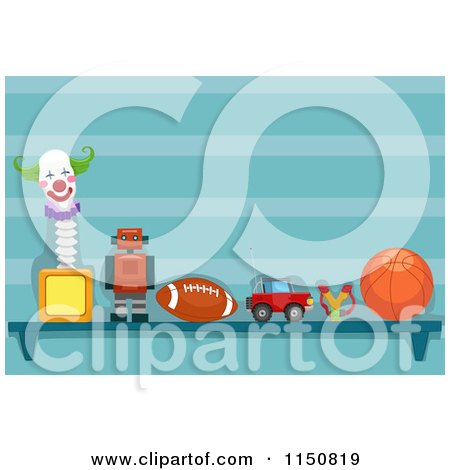 Cartoon of a Shelf of Toys in a Boys Room - Royalty Free Vector Clipart by BNP Design Studio