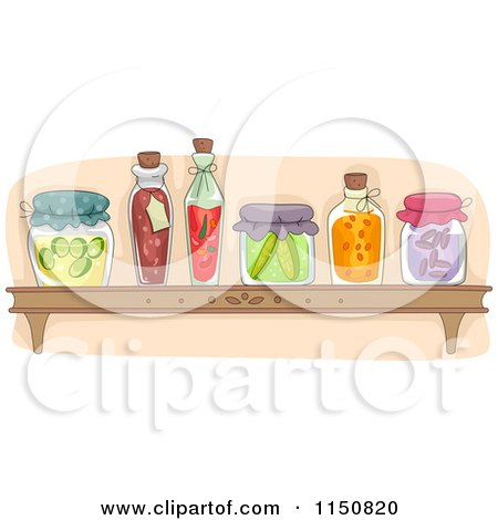 Cartoon of a Shelf of Preserved Foods in a Pantry - Royalty Free Vector Clipart by BNP Design Studio
