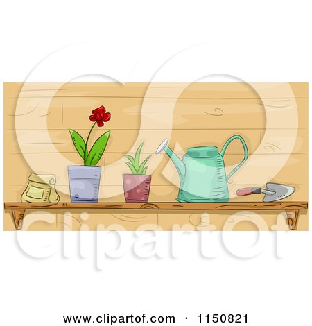 Cartoon of a Shelf of Garden Tools and Plants - Royalty Free Vector Clipart by BNP Design Studio