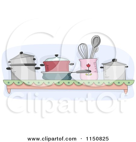 Cartoon of a Shelf of Pots and Pans in a Kitchen - Royalty Free Vector Clipart by BNP Design Studio