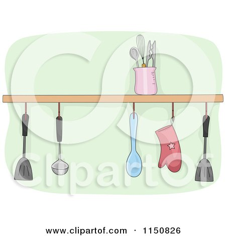 Cartoon of a Shelf of Kitchen Utensils - Royalty Free Vector Clipart by BNP Design Studio