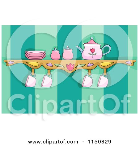 Cartoon of a Tea Set on a Shelf in a Kitchen - Royalty Free Vector Clipart by BNP Design Studio