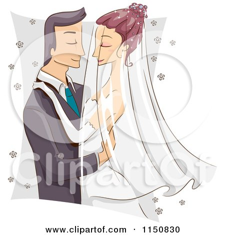 Cartoon of a Romantic Bride and Group Going in for a Kiss - Royalty Free Vector Clipart by BNP Design Studio