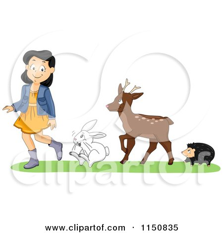 Cartoon of a Hedgehog Deer and Rabbit Following a Girl - Royalty Free Vector Clipart by BNP Design Studio