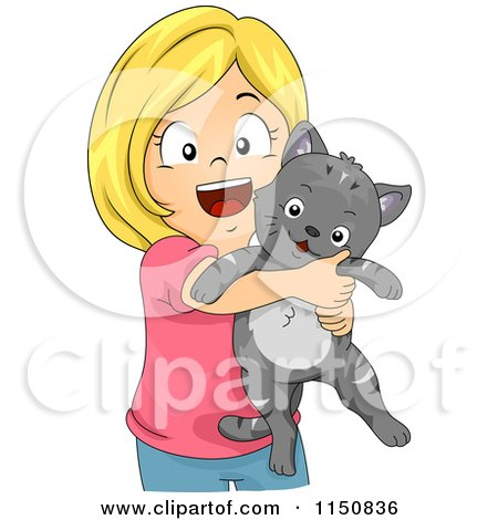 Cartoon of a Happy Blond Girl Hugging Her Cat - Royalty Free Vector Clipart by BNP Design Studio