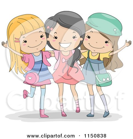 Cartoon of a Happy Trio of Girls - Royalty Free Vector Clipart by BNP Design Studio
