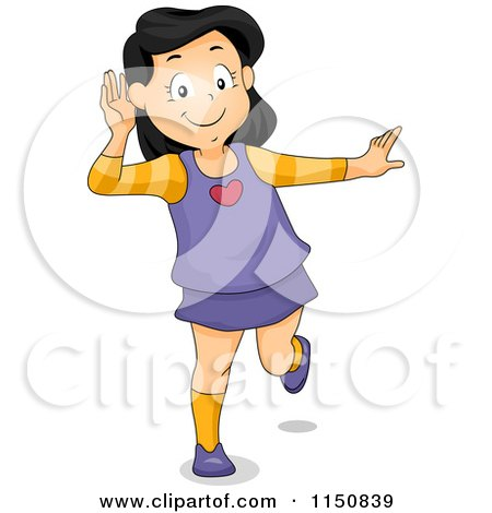 Cartoon of a Girl Covering Her Ear and Listening - Royalty Free Vector Clipart by BNP Design Studio
