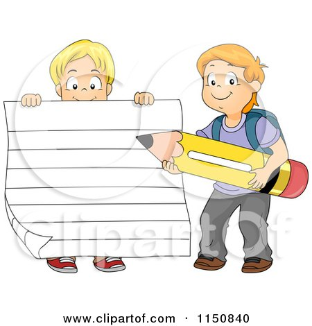 Cartoon of a Boy Holding up Ruled Paper and Another Boy Holding a Pencil - Royalty Free Vector Clipart by BNP Design Studio