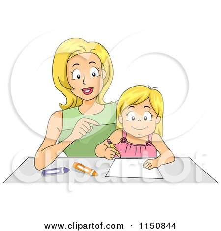 Cartoon of a Mother Helping Her Daughter How to Write a Letter - Royalty Free Vector Clipart by BNP Design Studio