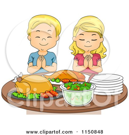 Cartoon of a Blond Boy and Girl Praying Before a Feast - Royalty Free Vector Clipart by BNP Design Studio