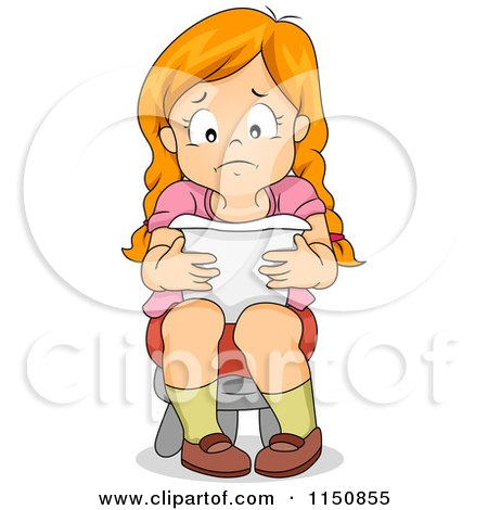 Cartoon of a Girl Sitting on a Stool and Reading a Sad Letter ...