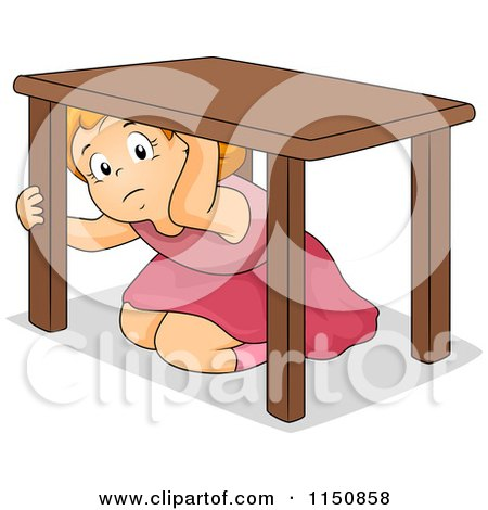 Cartoon Of A Scared Girl Hiding Under A Table During An