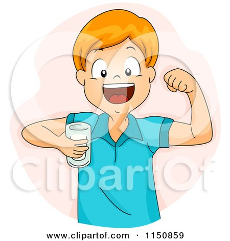 Cartoon of a Happy Red Haired Boy Flexing and Drinking Milk - Royalty Free Vector Clipart by BNP Design Studio