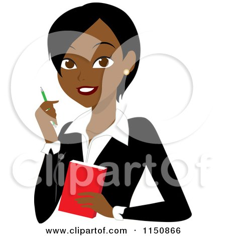 Black or Indian Businesswoman with a Pen and Notepad Posters, Art Prints