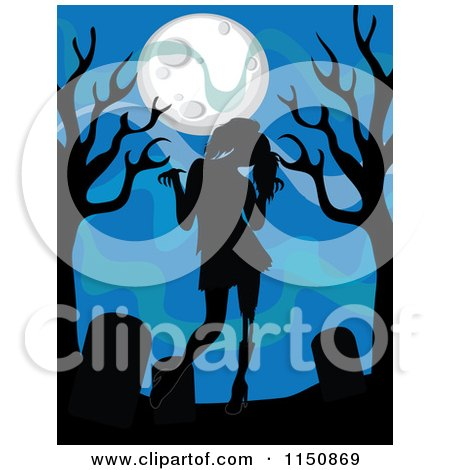 Cartoon of a Silhouetted Zombie Girl Tombstones and Trees Under a Full Moon - Royalty Free Vector Clipart by Rosie Piter