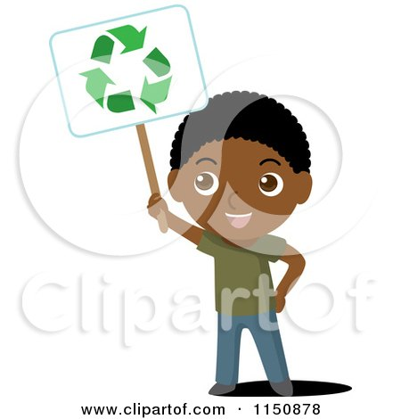 Cartoon of a Black Boy Holding up a Recycle Sign - Royalty Free Vector Clipart by Rosie Piter