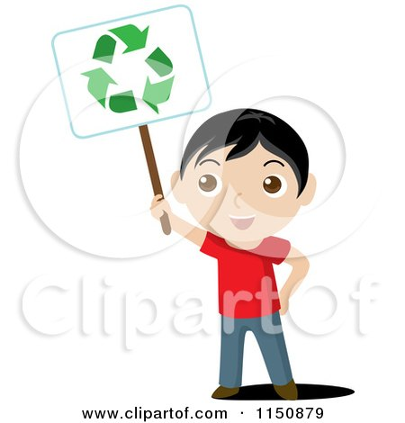 Cartoon of a Boy Holding up a Recycle Sign - Royalty Free Vector Clipart by Rosie Piter