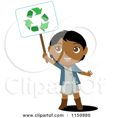 Cartoon of a Black or Indian Girl Holding up a Recycle Sign - Royalty Free Vector Clipart by Rosie Piter