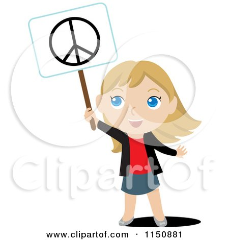 Cartoon of a Blond Girl Holding up a Peace Sign - Royalty Free Vector Clipart by Rosie Piter