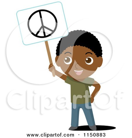 Cartoon of a Black Boy Holding up a Peace Sign - Royalty Free Vector Clipart by Rosie Piter