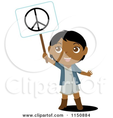 Cartoon of a Black or Indian Girl Holding up a Peace Sign - Royalty Free Vector Clipart by Rosie Piter